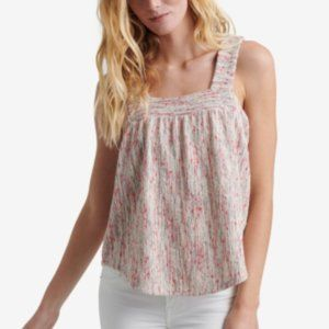 NWT LUCKY BRAND Textured Square-neck Top In Pink